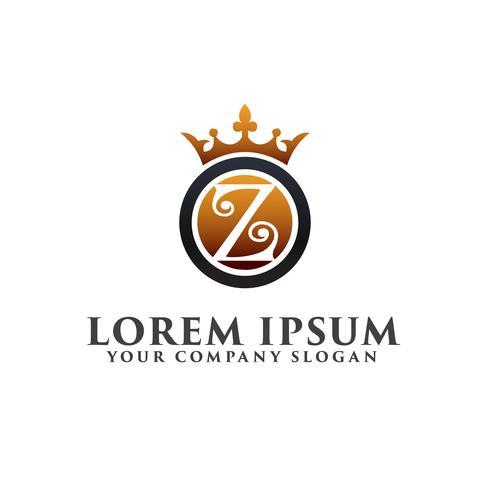 Lettre de luxe Z avec modèle de concept de couronne Logo design vecteur