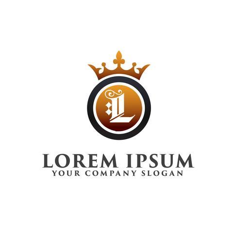 Lettre de luxe L avec couronne Modèle de concept de conception Logo vecteur