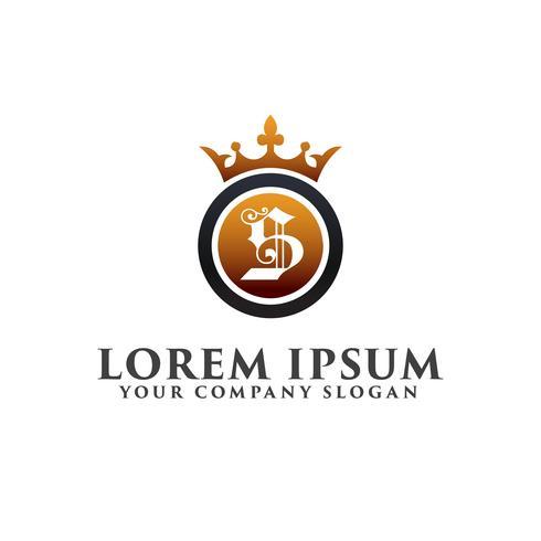 Lettre de luxe S avec modèle de concept de couronne Logo design vecteur