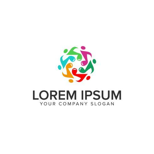 Modèle de concept de musique tonalités personnes logo design vecteur