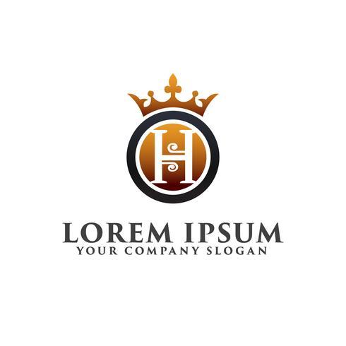 lettre de luxe H avec modèle de concept de logo couronne design vecteur