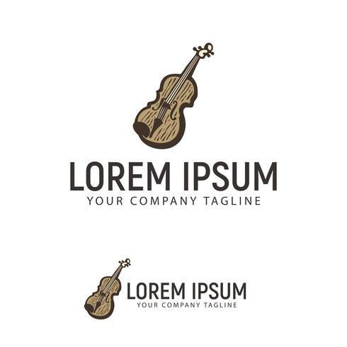 modèle de concept de design de logo dessiné main violon vecteur