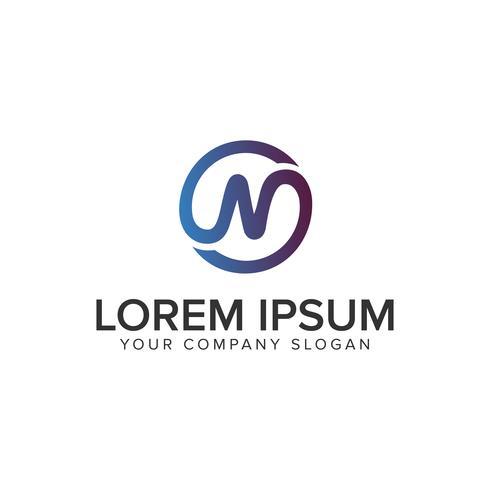 Modèle de concept de design lettre N cercle ligne logo. entièrement éditable vecteur