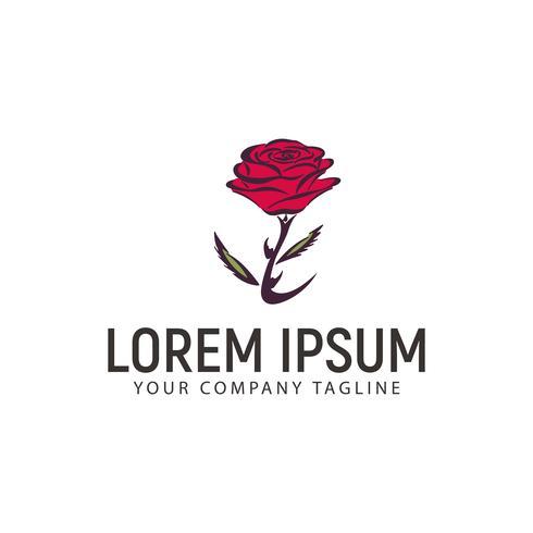 modèle de concept de design logo fleur rose vecteur