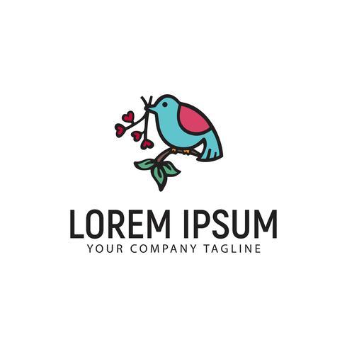 oiseau avec fleurs modèle de concept de logo design dessiné à la main vecteur