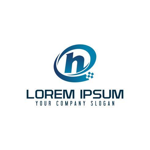 Lettre H logo. modèle de concept de design tech vecteur