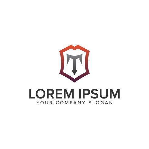 Modèle de concept de design logo luxe bouclier lettre T. entièrement edita vecteur