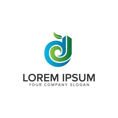 Lettre D modèle de concept de design logo jardin nature. éditer complètement vecteur