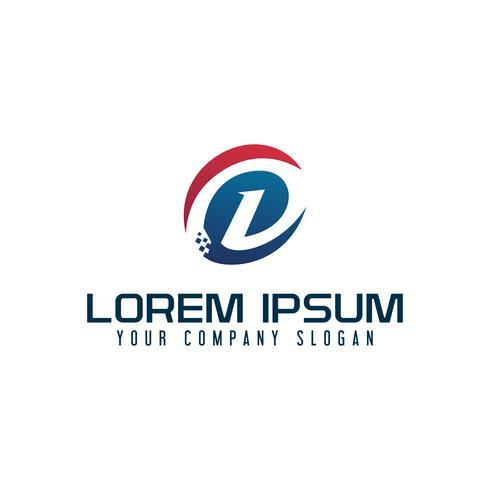 lettre moderne d logo. modèle de concept de design tech vecteur