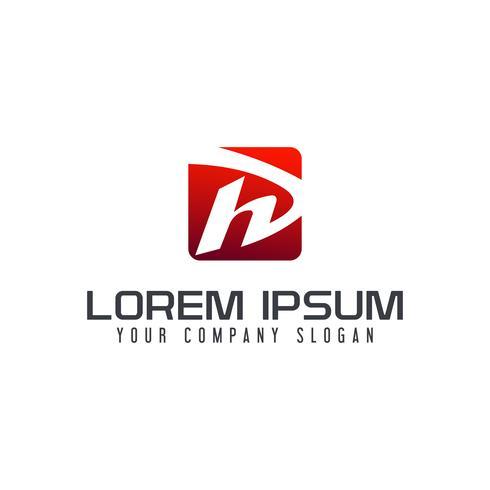 Modèle de concept de design lettre H logo carré vecteur