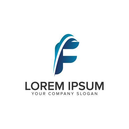 Cative moderne lettre F modèle de concept de design de logo. éditer complètement vecteur