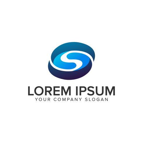lettre S modèle de concept de logo ovale 3D. entièrement éditable v vecteur