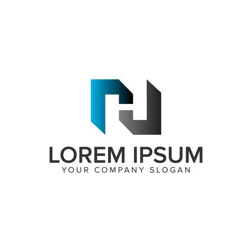 Modèle de concept de conception lettre H logo. vecteur entièrement éditable