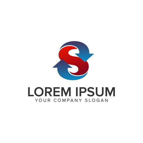modèle de concept de lettre s flèche logo design vecteur