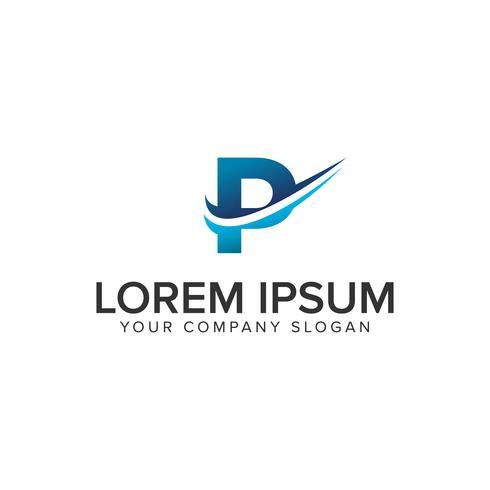 Cative lettre moderne modèle de concept de conception de logo P. éditer complètement vecteur
