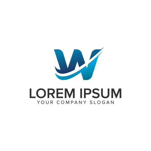 Cative moderne lettre W modèle de concept de design Logo. éditer complètement vecteur