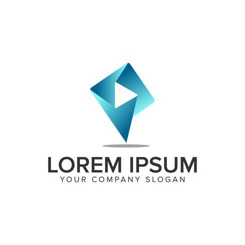 lettre P modèle de concept de logo multimédia logo. vecteur