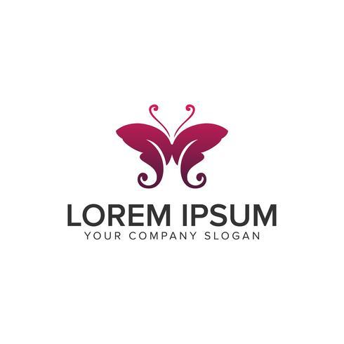 modèle de concept de lettre M logo papillon. vecteur