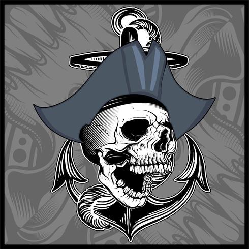 crâne pirate main dessin vectoriel