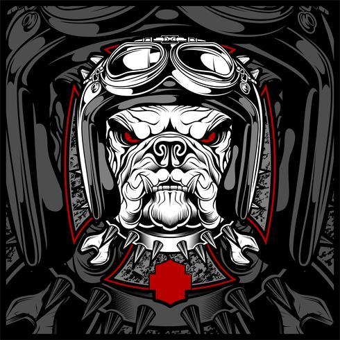 Chien, bouledogue portant une moto, casque aéro. Image dessinée à la main pour tatouage, t-shirt, emblème, badge, logo, patch. - vecteur