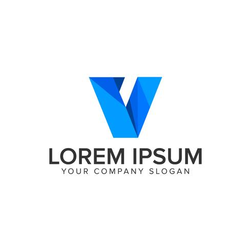 Modèle de concept de conception logo entreprise moderne de la technologie lettre V vecteur