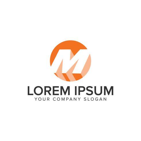 logo ombre cercle lettre m. concept de design d'espace négatif templ vecteur