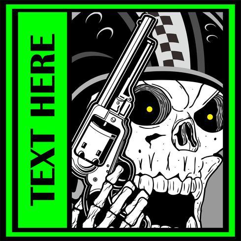 crâne militaire tenant une main gun.vector dessin vectoriel crâne. Illustration vectorielle - vecteur
