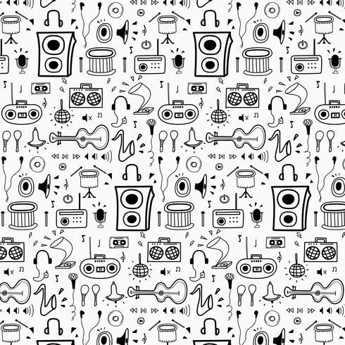 Modèle avec fond de musique Doodle dessinés à la main ligne. Doodle Drôle. Illustration vectorielle à la main. vecteur