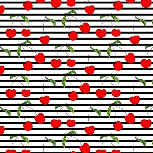 Cerise dessiné à la main motif vector illustration fond.