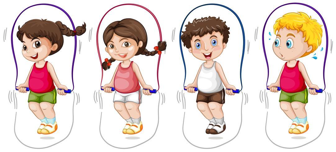 Ensemble d'enfants sauter la corde vecteur