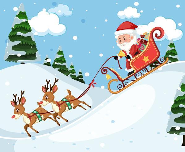 Père Noël en traîneau vecteur