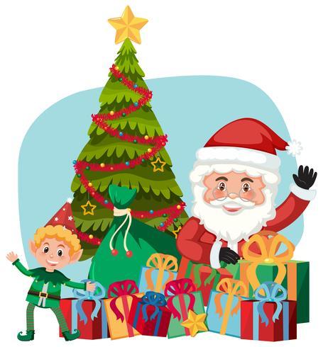 Père Noël et cadeau avec un assistant elfe vecteur