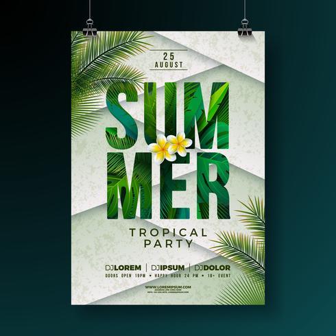 Vector Summer Party Flyer Design avec des fleurs et des feuilles de palmier tropical sur fond abstrait. Illustration de vacances d'été avec plantes exotiques et lettre de typographie pour bannière, flyer, invitation ou affiche.