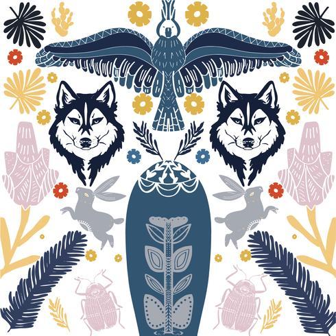 Motif de loup d'art populaire scandinave avec des oiseaux et des fleurs vecteur