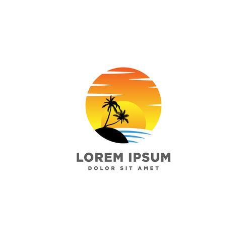 élément icône de plage coucher de soleil logo design vectoriel, notion de logo coucher de soleil vecteur