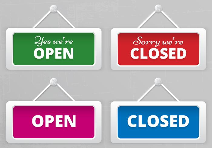 Vecteur de panneaux suspendus signe ouvert et fermé