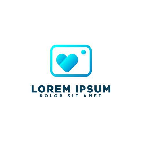 Amour, coeur caméra ou photographie logo modèle isolé vecteur