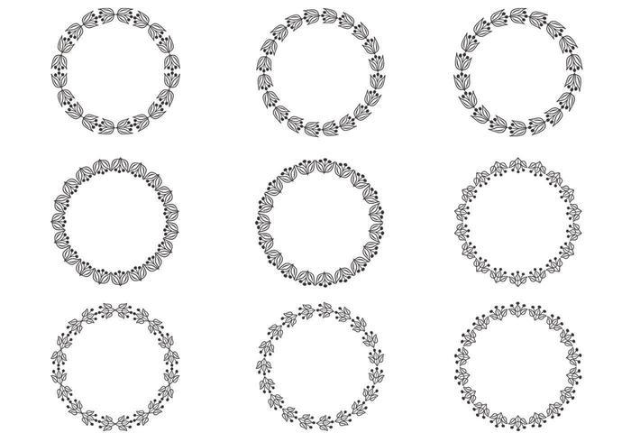 Ensemble vectoriel de couronnes florales