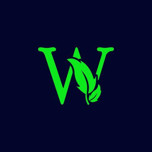 lettre w feuille nature, vecteur de modèle de logo vert eco isolé