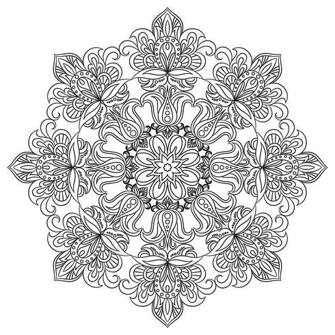 Mandala Contour pour cahier de coloriage anti-stress. Ornement rond décoratif. vecteur