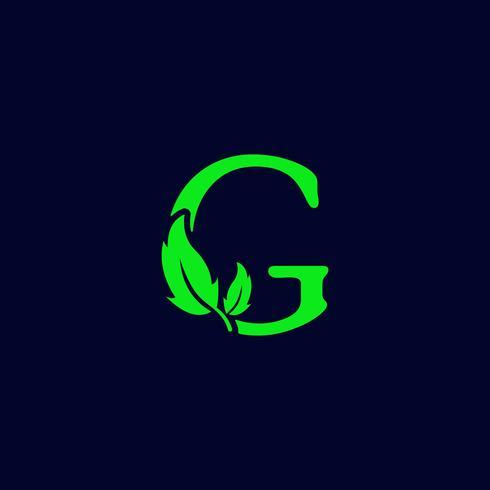 lettre g feuille nature, vecteur de modèle de logo vert eco isolé