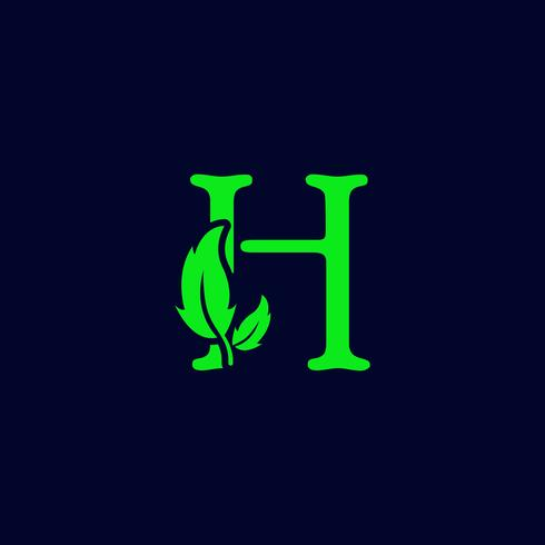 lettre h feuille nature, vecteur de logo éco vert logo isolé