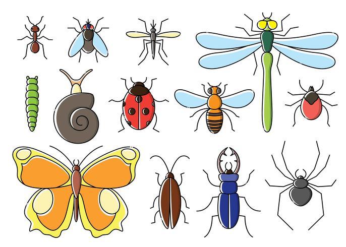 Les insectes mis en style plat. Collection d'icônes de bogues d'art de ligne. vecteur