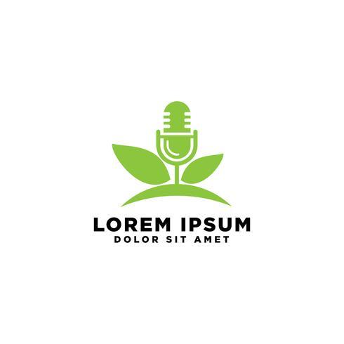 Modèle de logo de microphone Podcast Music, illustration vectorielle vecteur