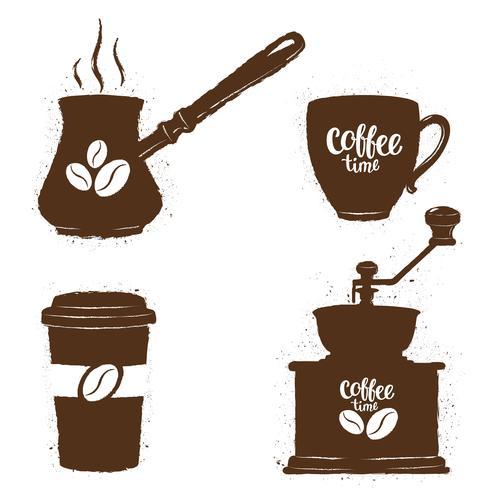 Ensemble d'objets de café vintage. Silhouettes de tasses à café, moulin, pot avec logo de haricots et lettrage. Collection de temps de café. vecteur