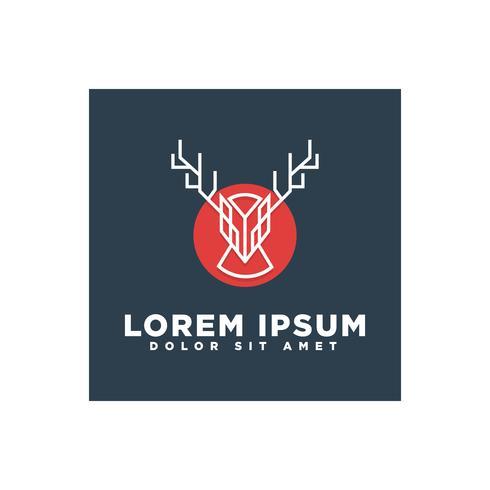 cerf ligne art concept pour business logo template vecteur élément isolé