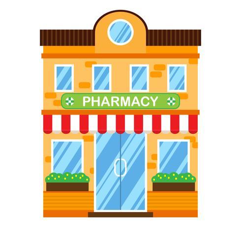 Illustration vectorielle de bâtiment rétro avec pharmacie. Façade d'une maison rétro dans un style plat. Immeuble de ville à deux étages avec pharmacie. vecteur