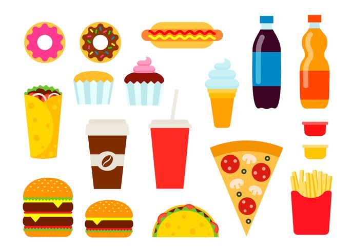 Fast-Food coloré situé dans un style plat. Collection d'icônes vectorielles malbouffe. Illustration de manger malsain. vecteur