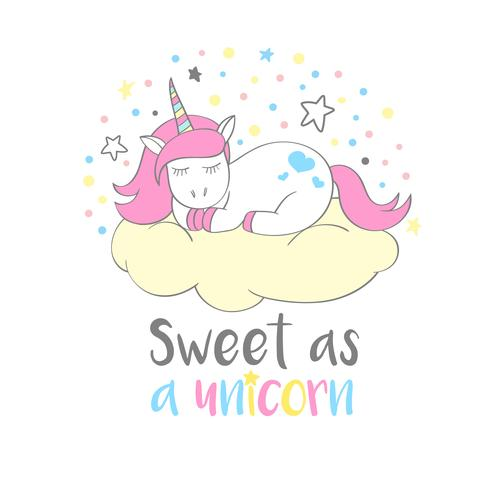 Licorne mignonne magique en style cartoon avec lettrage à la main Sweet comme une licorne. Illustration vectorielle Doodle Licorne pour cartes, affiches, impressions de t-shirt pour enfants, design textile. vecteur