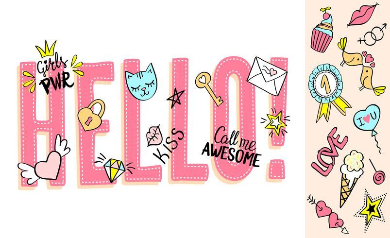 Bonjour lettrage avec des griffonnages girly et des phrases dessinées à la main pour la conception de cartes de Saint Valentin, impression de t-shirt de fille. Slogan bonjour dessiné à la main vecteur